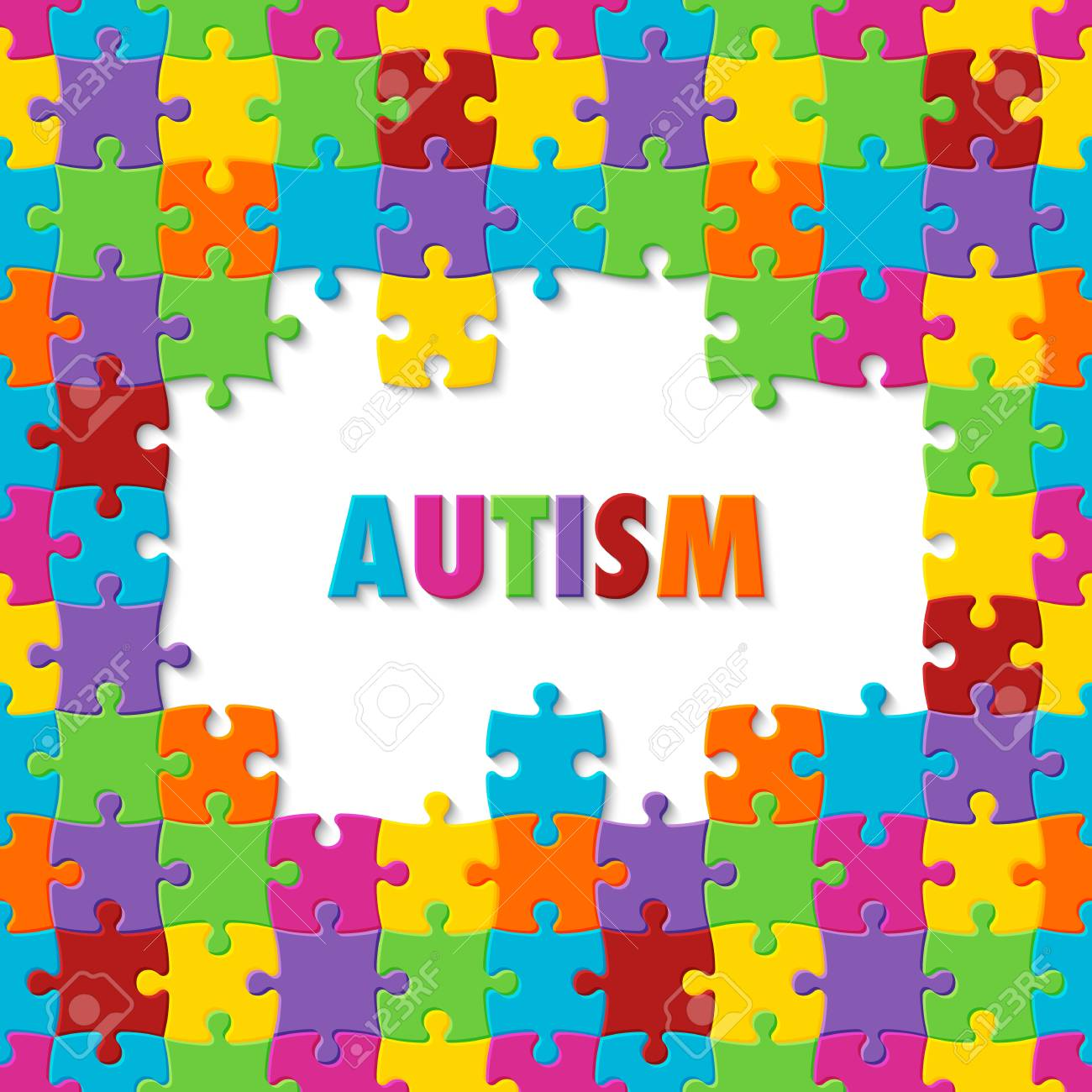World Autism Awareness Day Colorful Puzzle Background Royalty 1300x1300