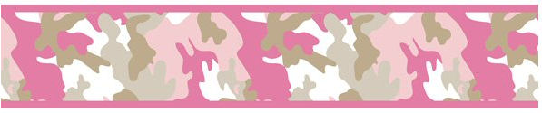 Pink Camo Camouflage Print Wallpaper Border for Girls 597x125