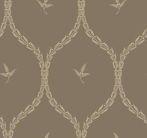 Wallpaper Designer Othello Taupe Beige Leaf Trellis on Metallic Gray 500x468
