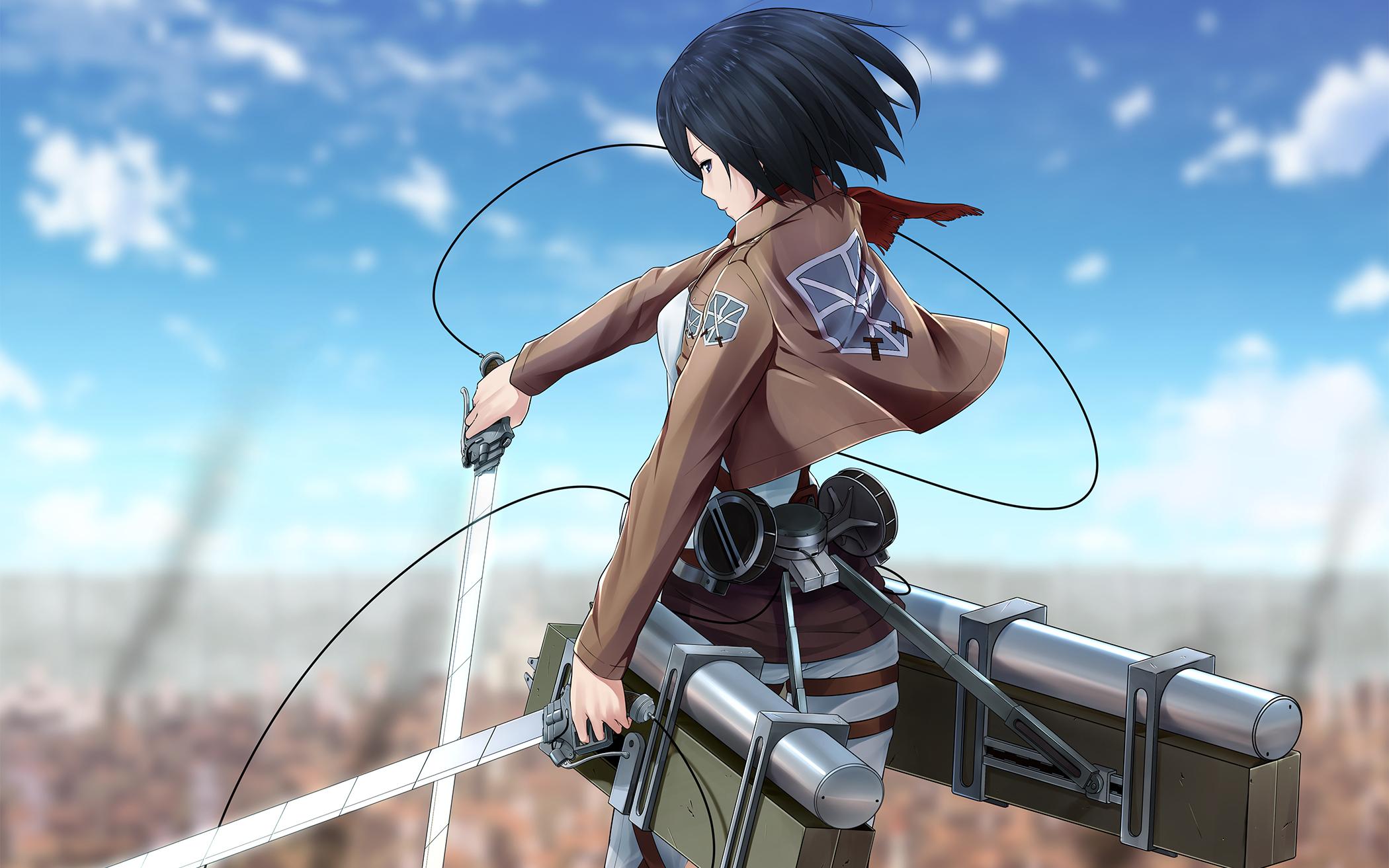 no kyojin mikasa ackerman ninnzinn sword weapon wallpaper background 2100x1313