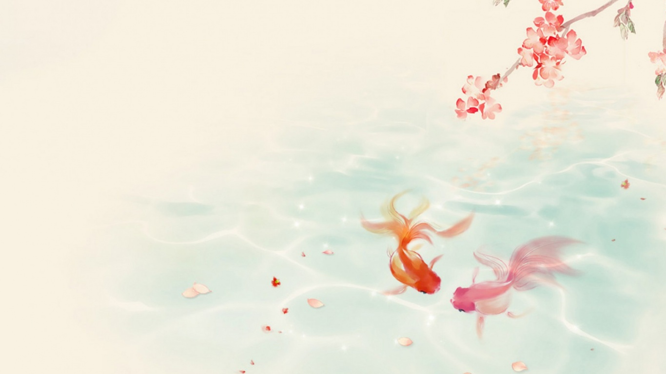 1366x768 Lovely Koi Couple Spring desktop PC and Mac wallpaper 1366x768