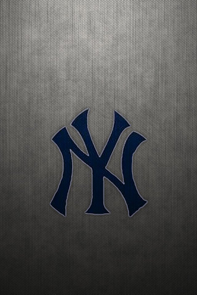 Yankees Iphone Wallpaper New york yankees logo on gray 640x960