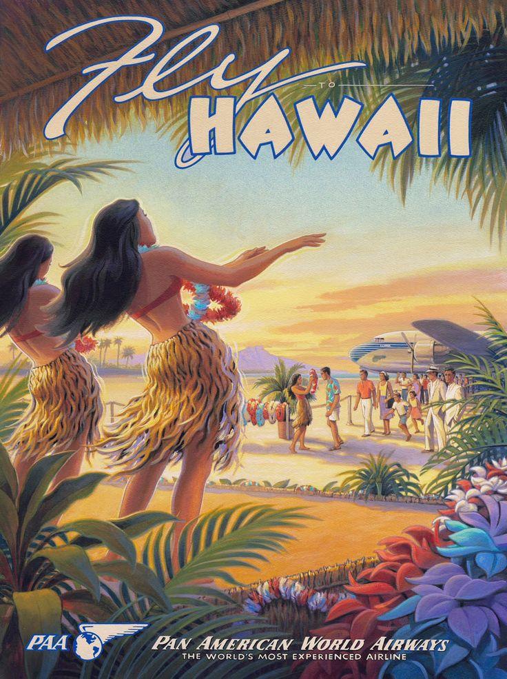 Visit Hawaii Waikiki Summer Holiday Travel Posters Retro Vintage 736x985