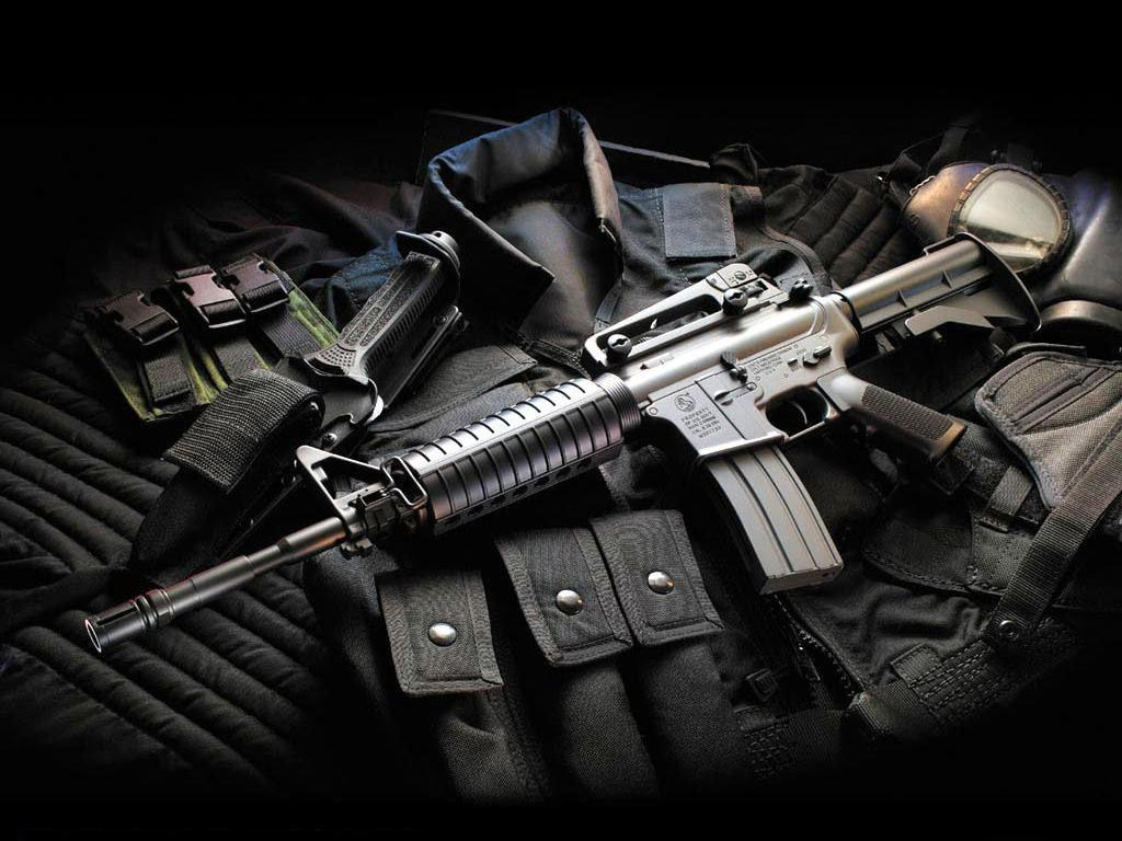 M16 assault rifle with bullet proof vest hd gun desktop wallpaper 1024x768
