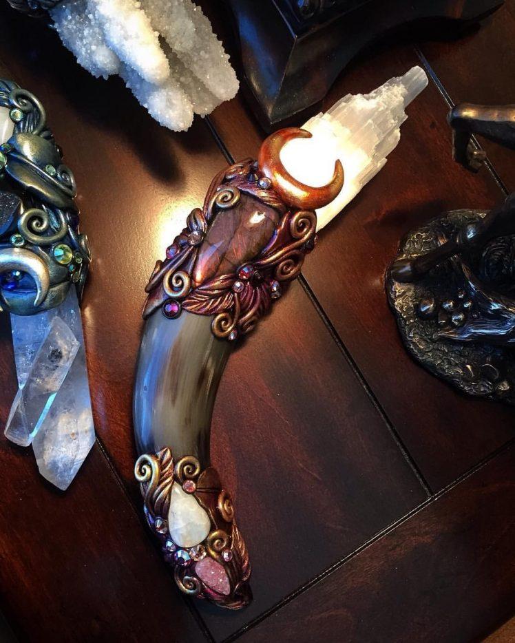 crystal Sculpture Selenite Labradorite Moonstone Druzy quartz 748x934