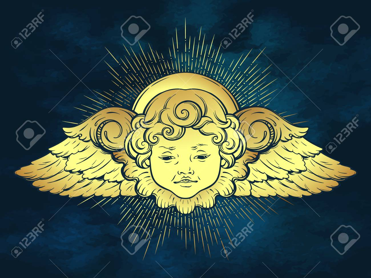 Gold Cherub Cute Winged Curly Smiling Baby Boy Angel With Rays 1300x975