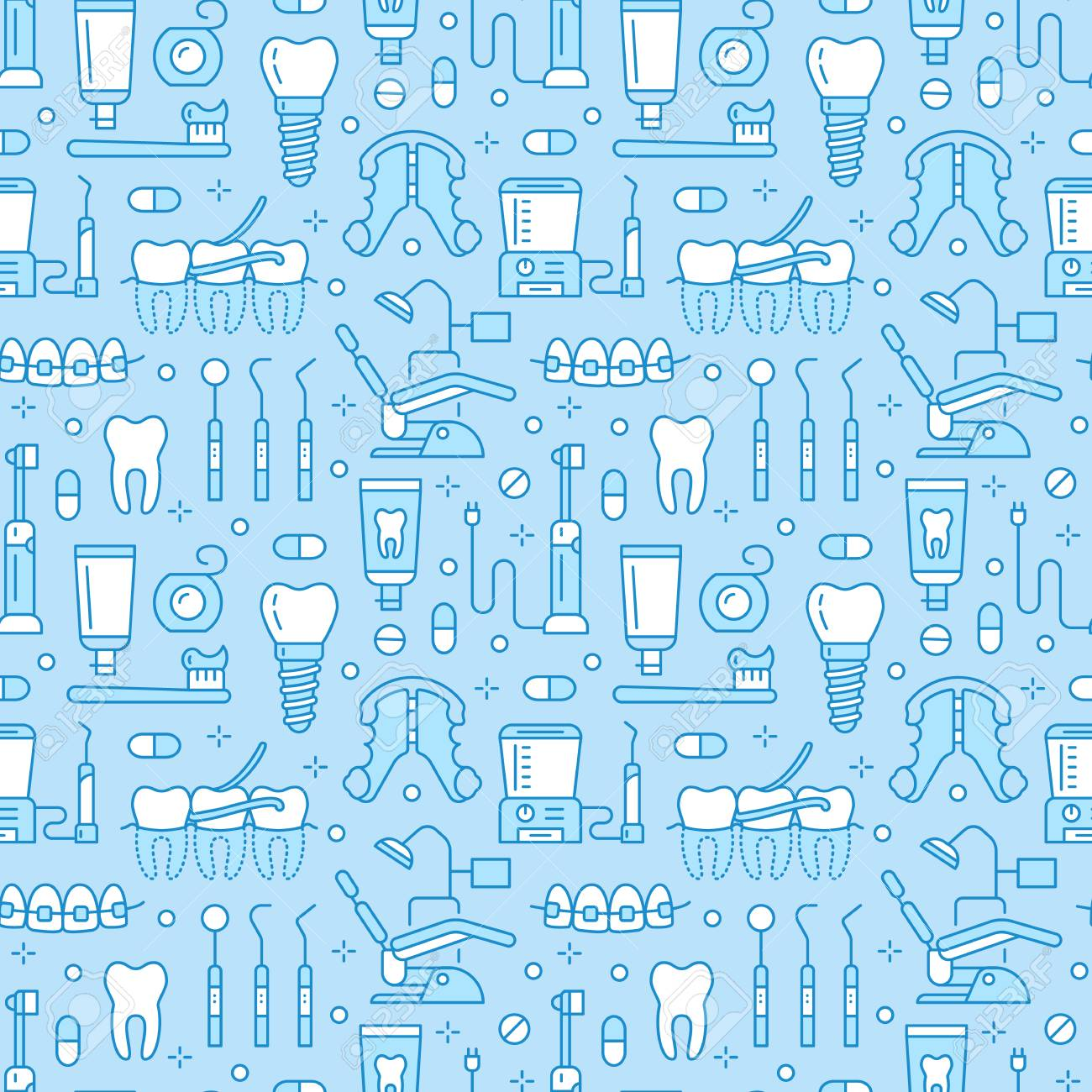 Dentist Orthodontics Blue Seamless Pattern With Line Icons 1300x1300