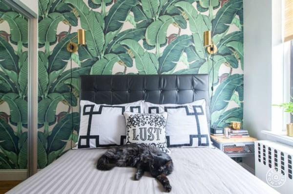 Martinique Banana Leaf wallpaper interiors design 600x399