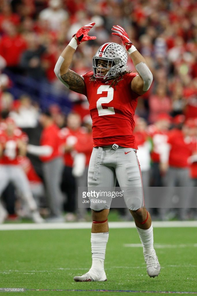 JK Dobbins of the Ohio State Buckeyes celebrates after a play 683x1024