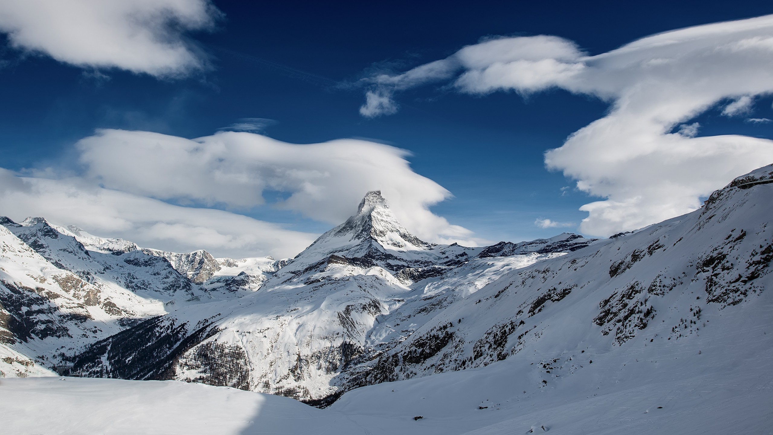 nature Mountain Clouds Snow Ice Landscape Wallpapers HD 2560x1440