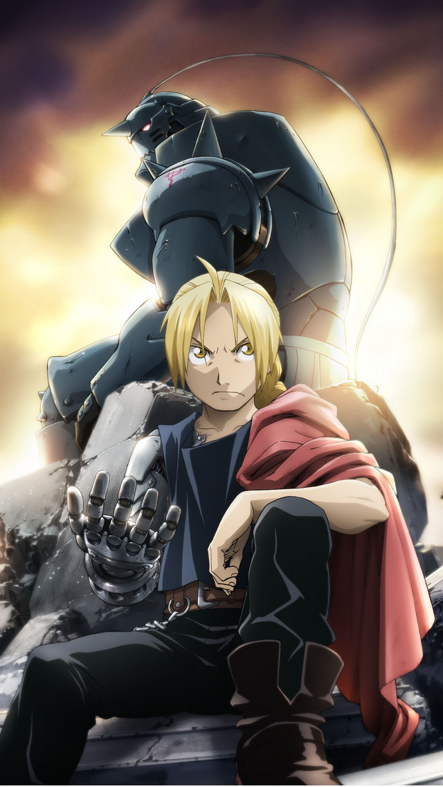 Fullmetal Alchemist Brotherhood Edward and Alphonse Elric iPhone 5 640x1136