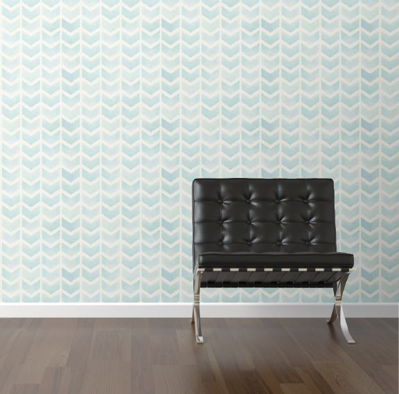 Faded blue chevron removable wallpaper from Walls Need Love 576x569