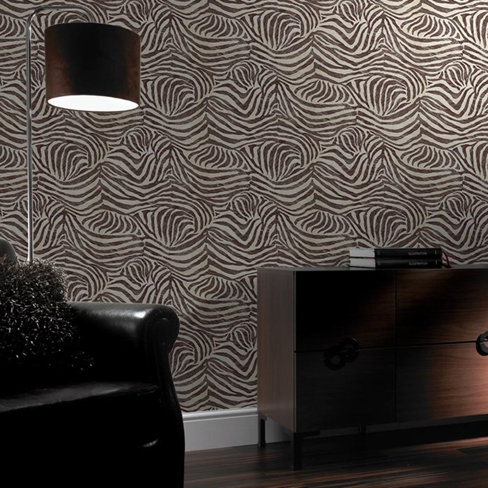 Brown Zebra Print Animal Faux Fur Pattern Textured Wallpaper 32 636 1000x1000
