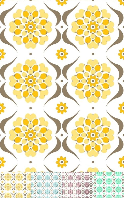 Swirl Retro modern Layla Faye print design available as wallpaper 487x772