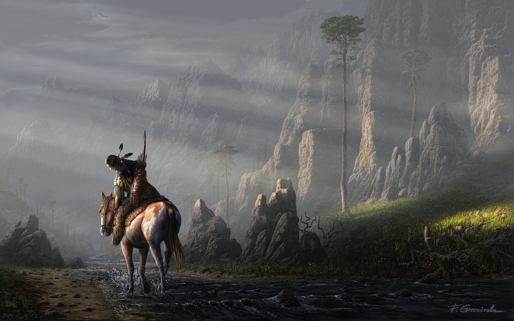 Free Download Artistic Native American Wallpaper 1680x1050