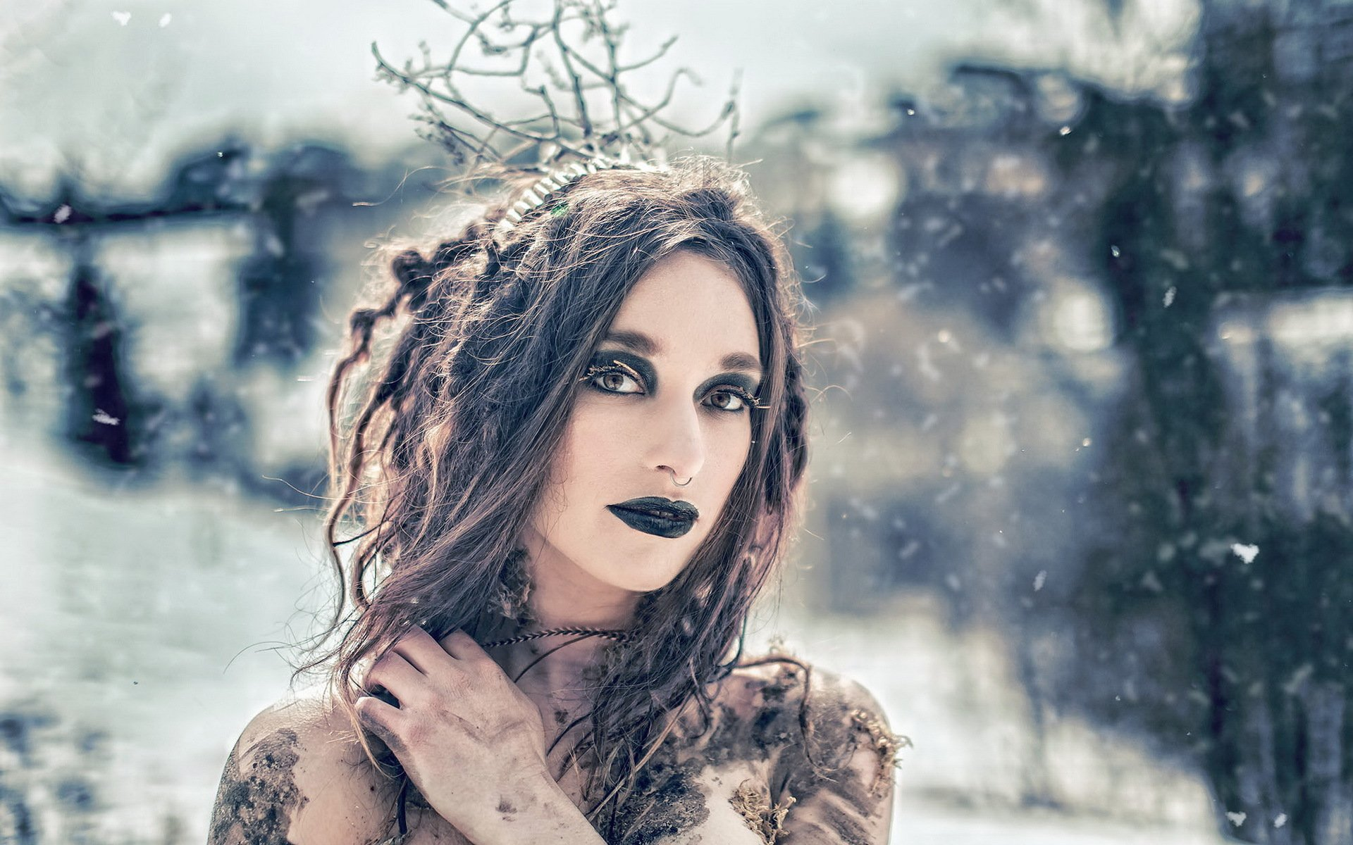 winter snow witch ocult dark flakes snowflake babe look mood wallpaper 1920x1200