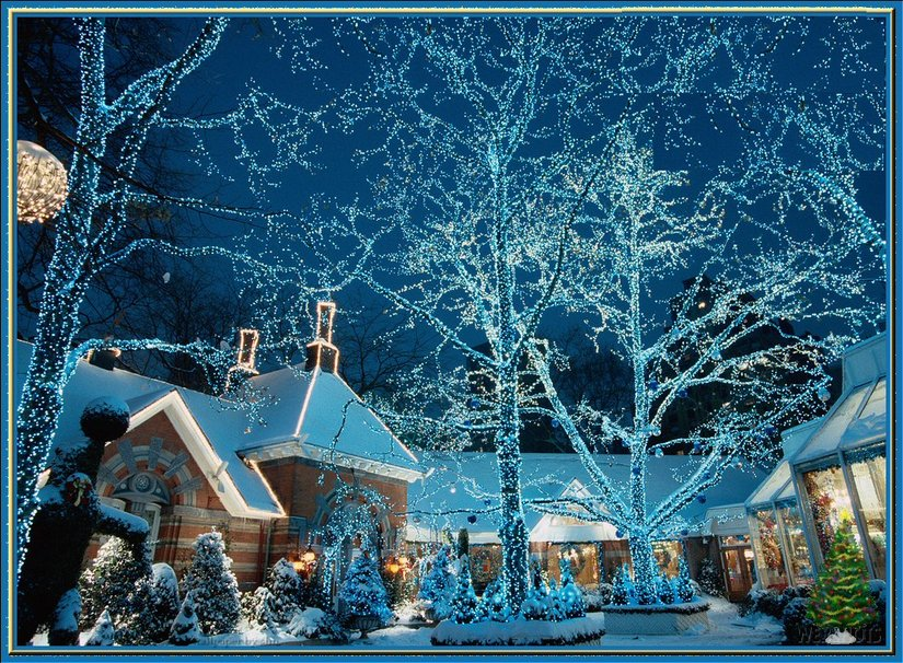 Blue village for Christmas wallpaper   ForWallpapercom 825x606