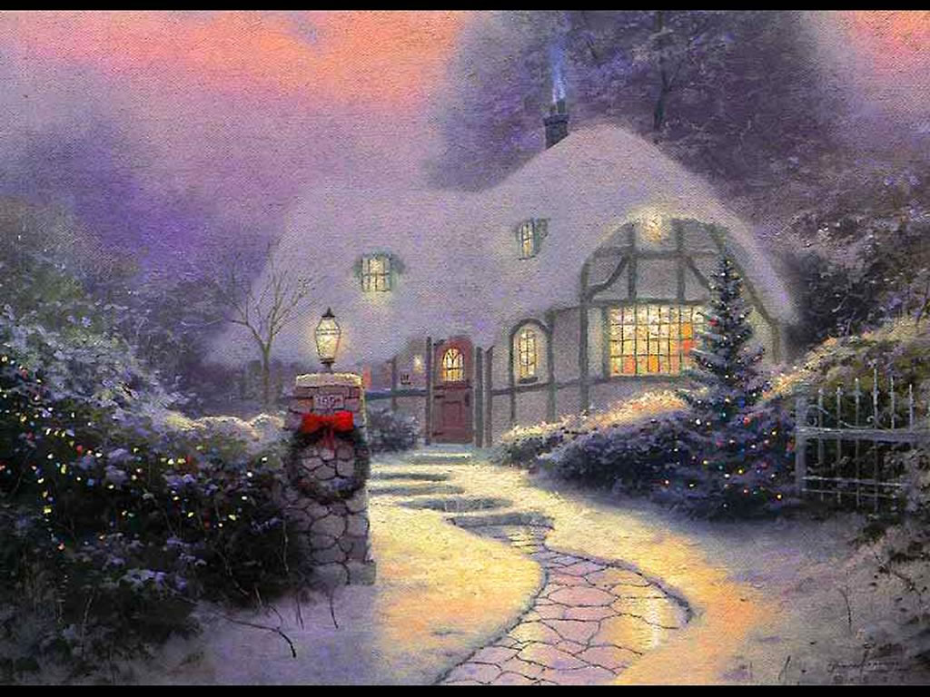 Christmas Cottage   Christmas Winter Scenes Wallpaper Image 1024x768
