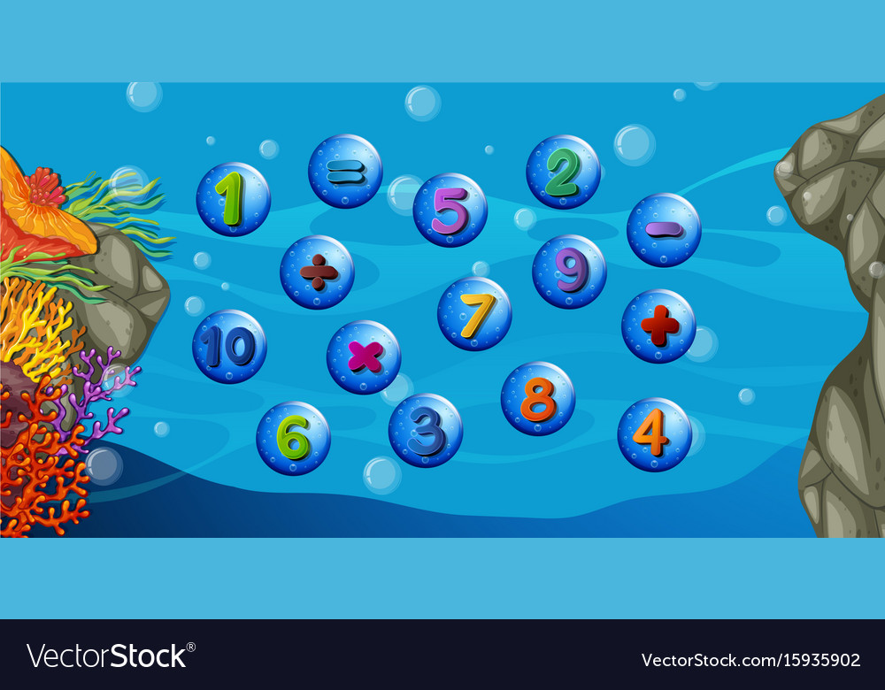 Counting numbers with underwater background Vector Image 1000x780