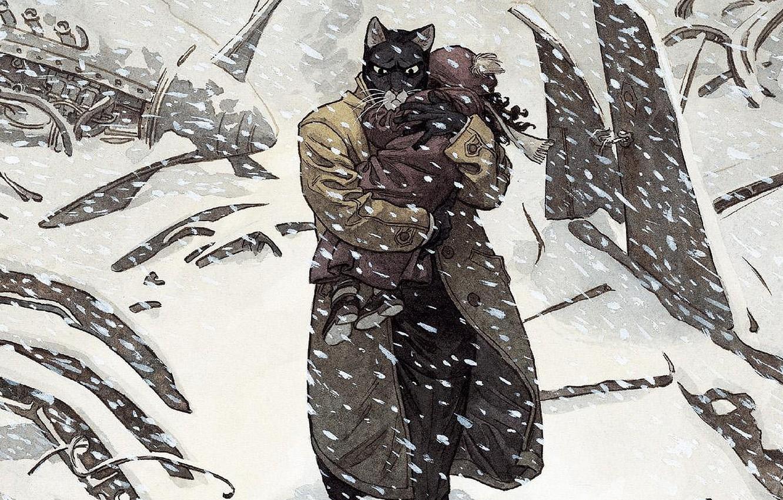 Wallpaper cat cat art detective illustration comics animal 1332x850