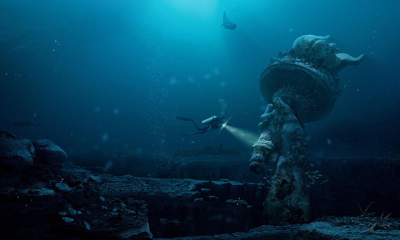 Underwater deep diving Statue of Liberty Photo Manipulation 1280x768