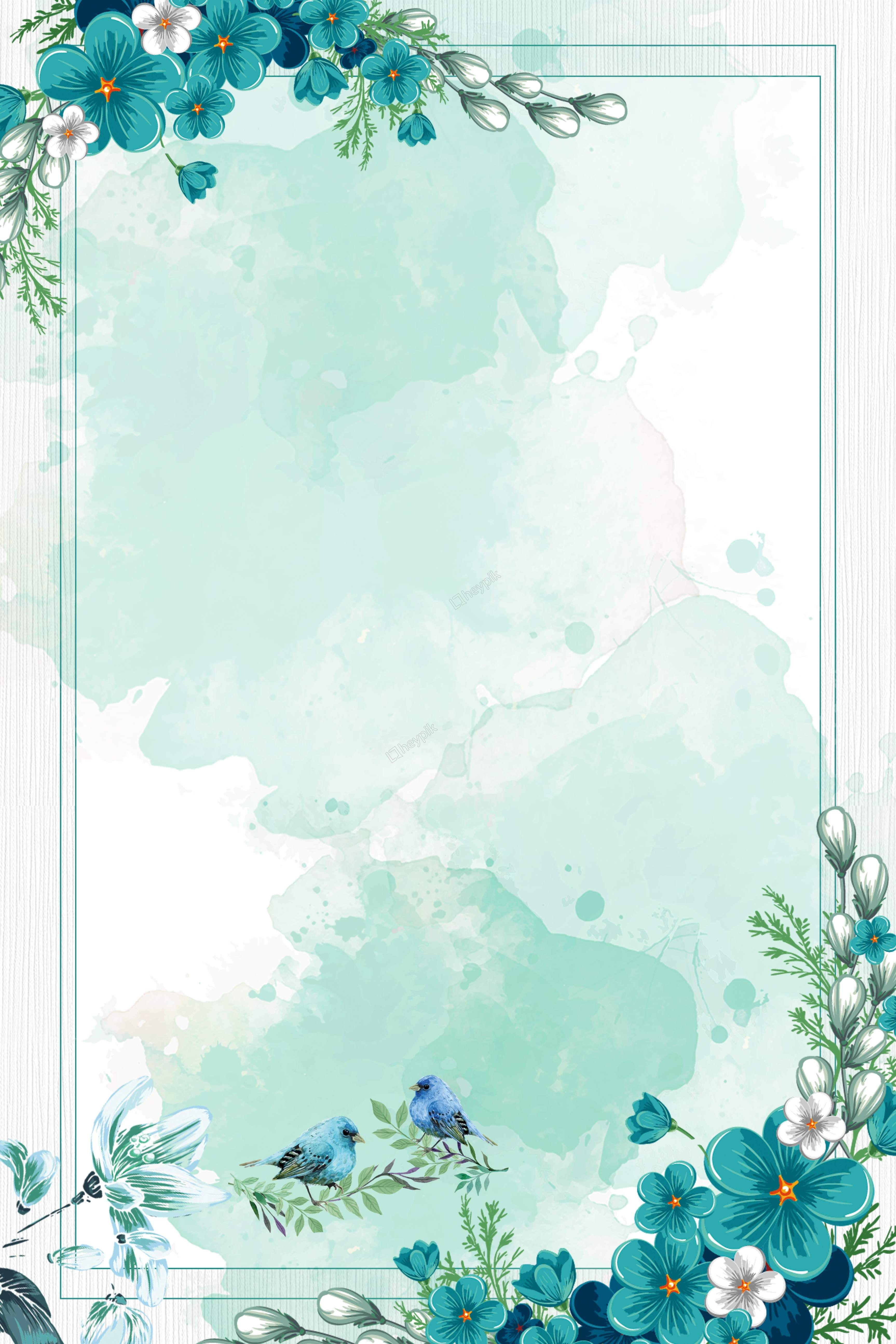 chinese style watercolor blue flowers border background vector 3453x5179