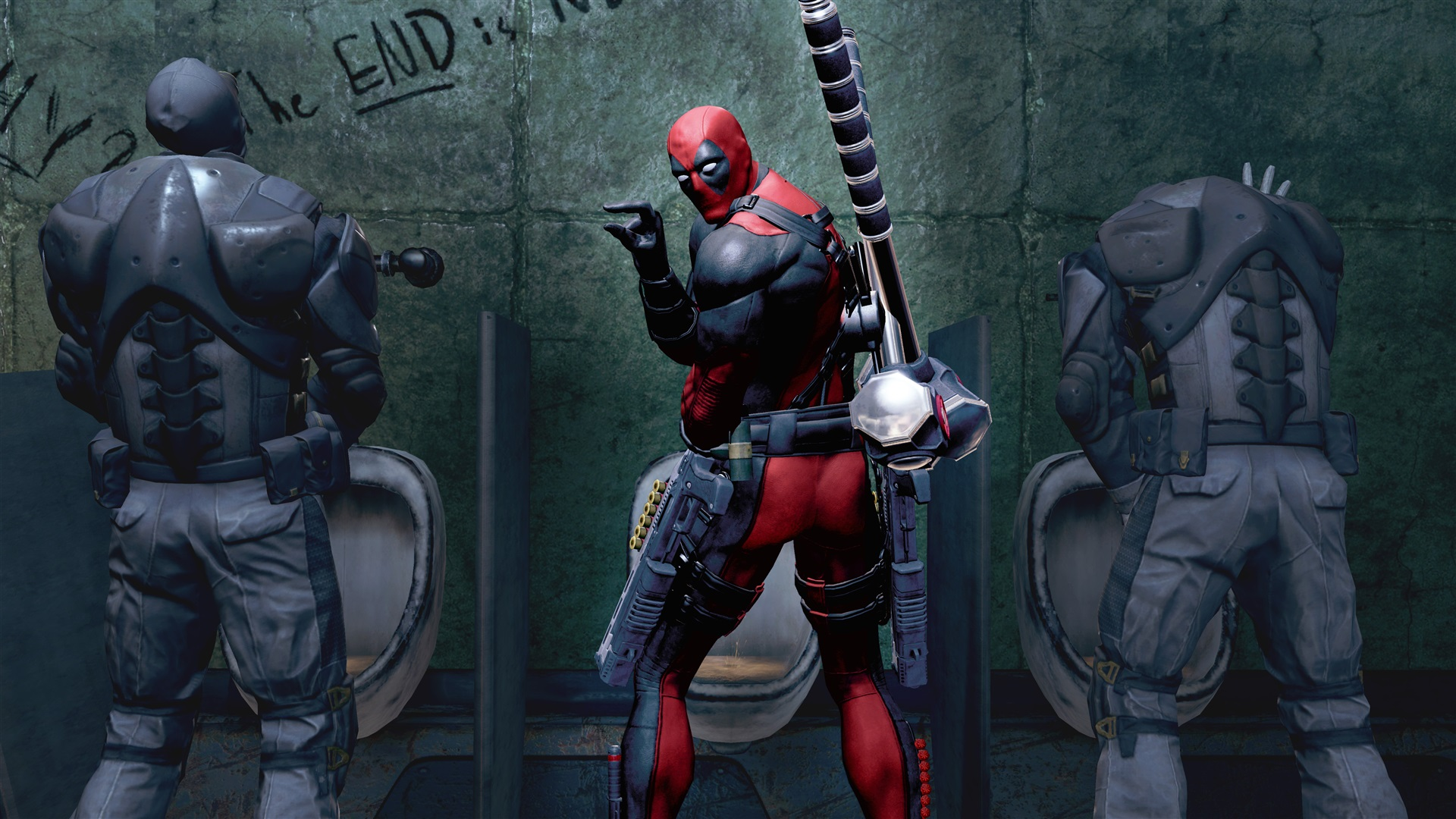 4K wallpaper   Deadpool The Game   marvel Weapons bathroom 1920x1080