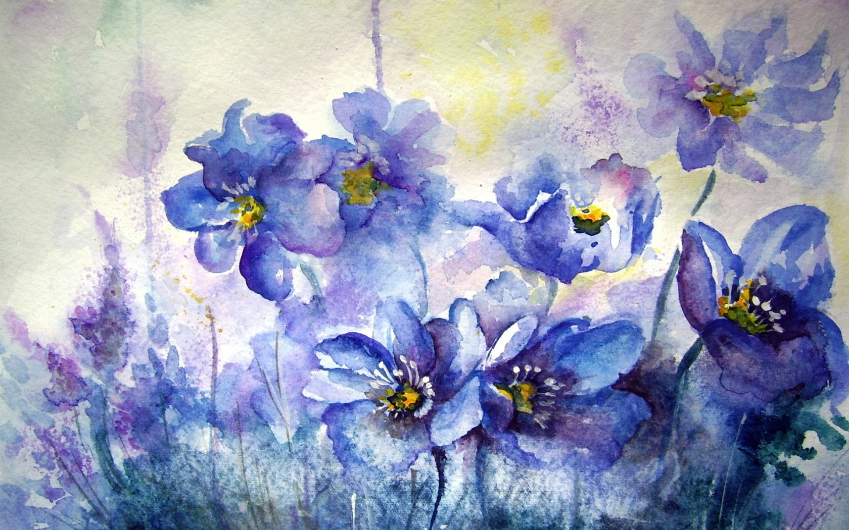 Flower Painting Watercolor Wallpaper 1680x1050 70424 Wallpaperup