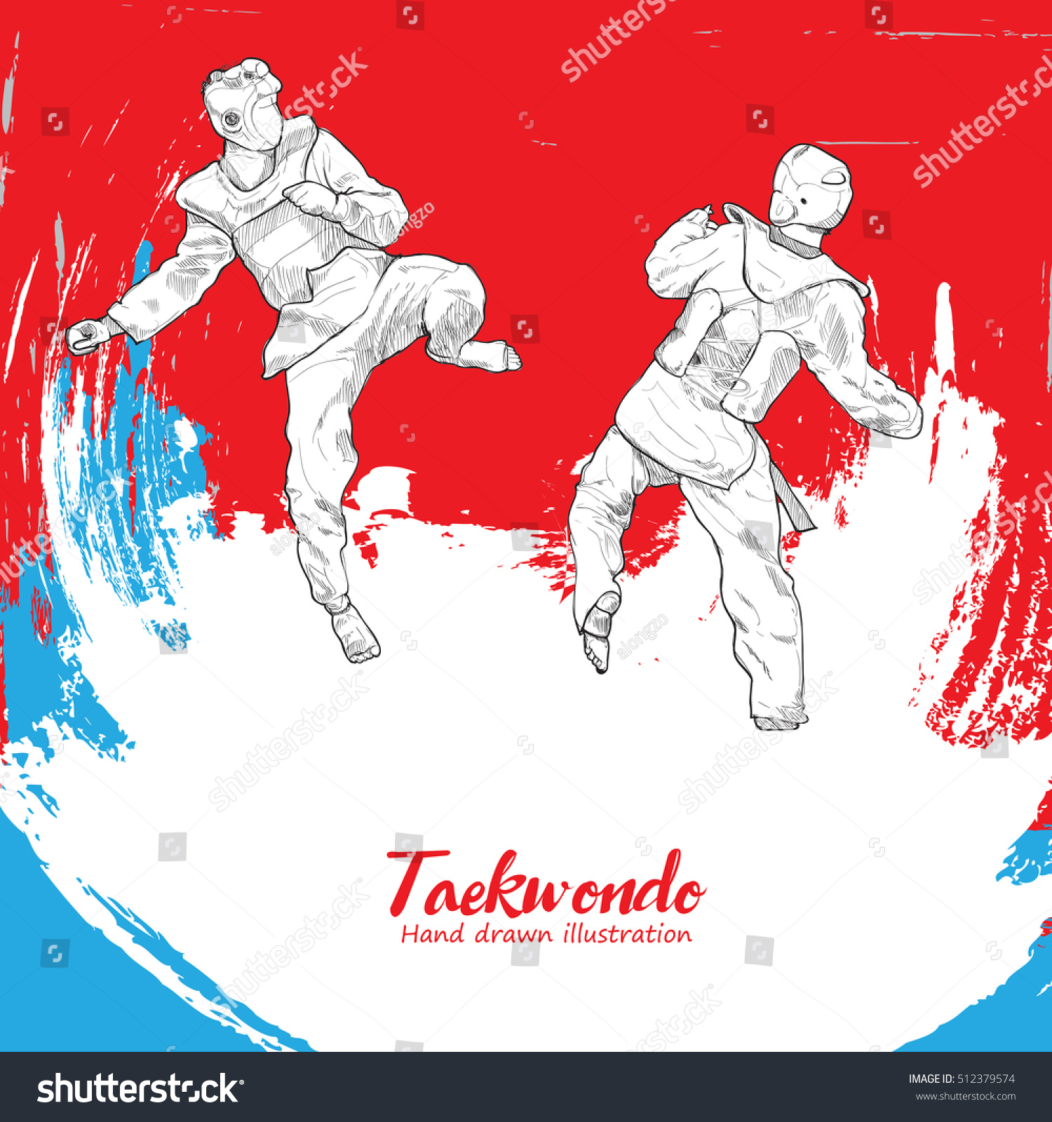 Taekwondo Background Design Hand Drawn Stock Vector Royalty 1500x1600