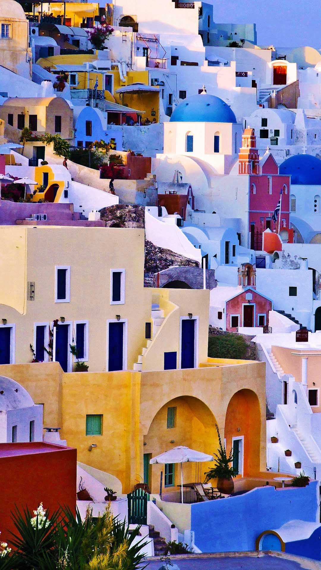Colorful White Houses Hill Greece Smartphone Wallpaper and 1080x1920