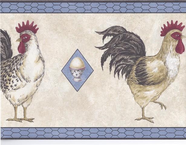 Black Blue Cream Chickens Wallpaper Border   Country Folk 615x480