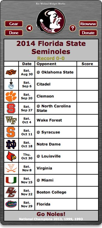 2014 football schedule Florida State Seminoles Pinterest 340x760