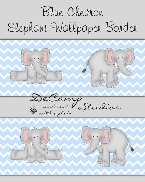 BLUE GREY CHEVRON Elephant Wallpaper Border Wall Decals Boys Room Baby 570x713
