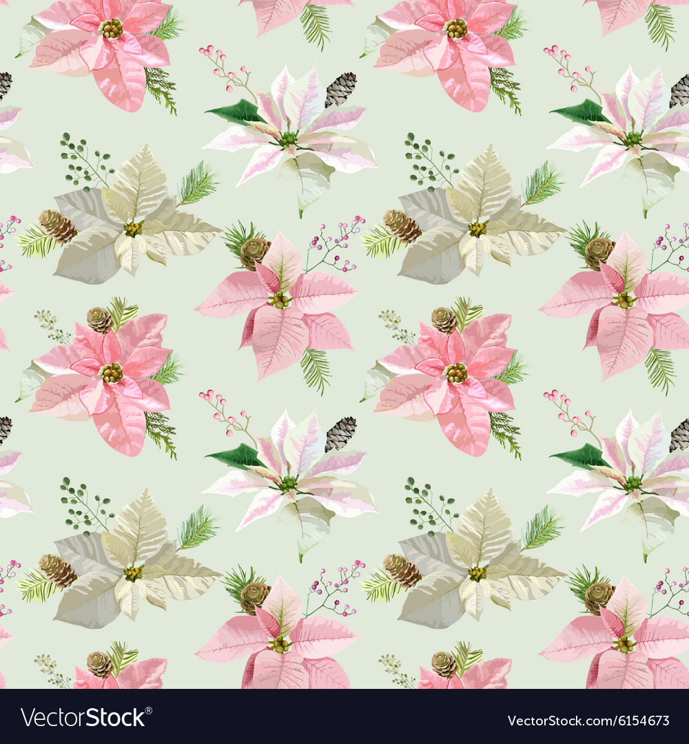 Vintage Poinsettia Background Christmas Pattern Vector Image 1000x1080