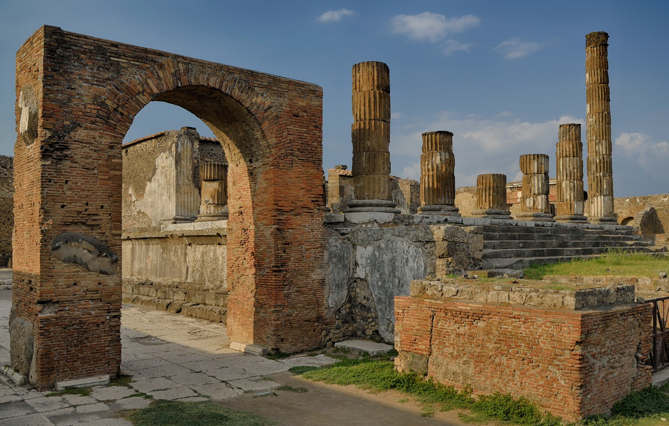Wallpaper Italy ruins architecture column Pompeii excavations 1332x850