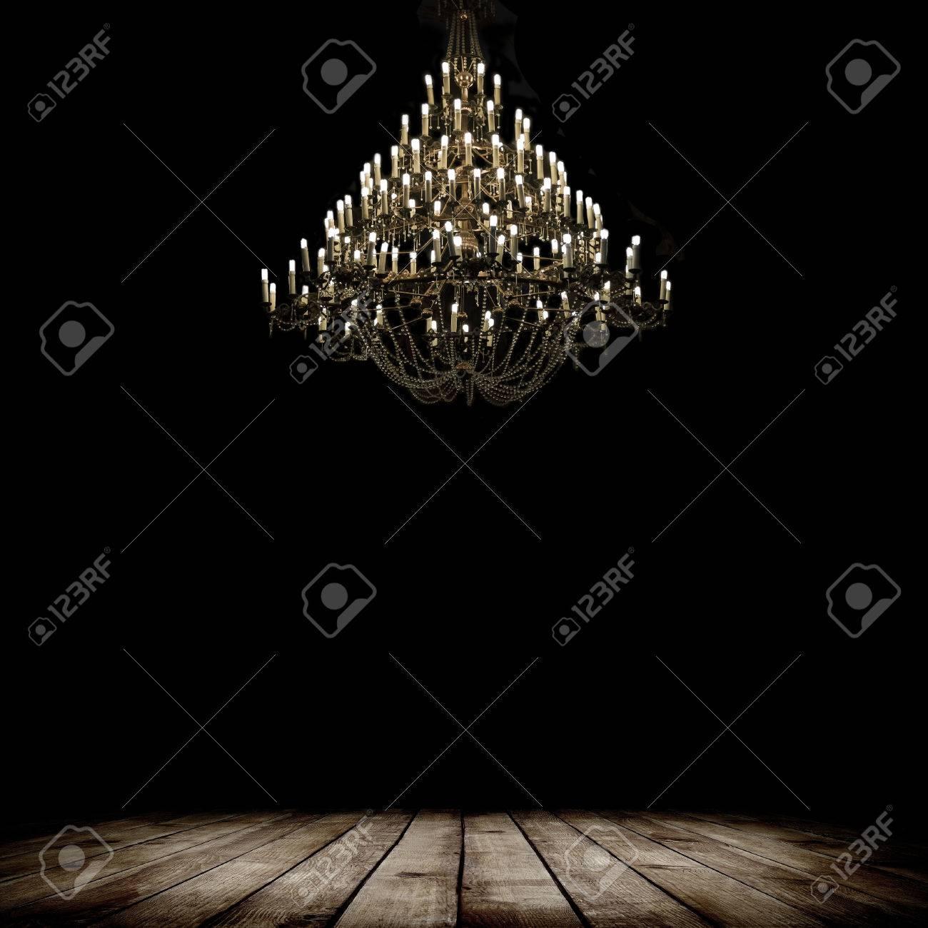 Image Of Grunge Dark Room Interior With Wood Floor And Chandelier 1300x1300