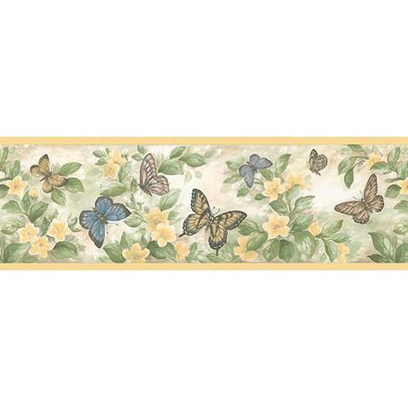 Wallpaper Border Botanical Flower Butterfly Border 800x800