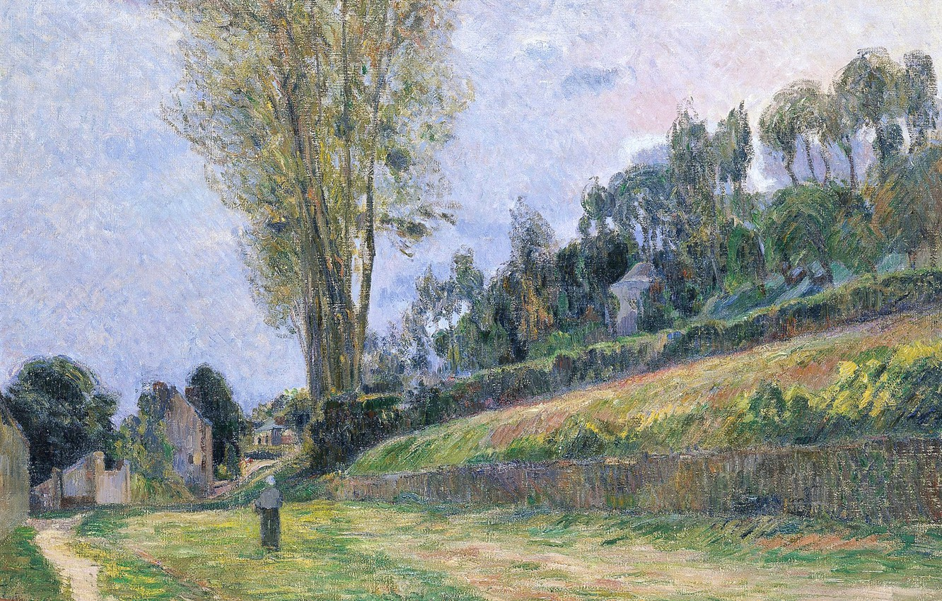 Wallpaper trees landscape picture slope path Paul Gauguin 1332x850