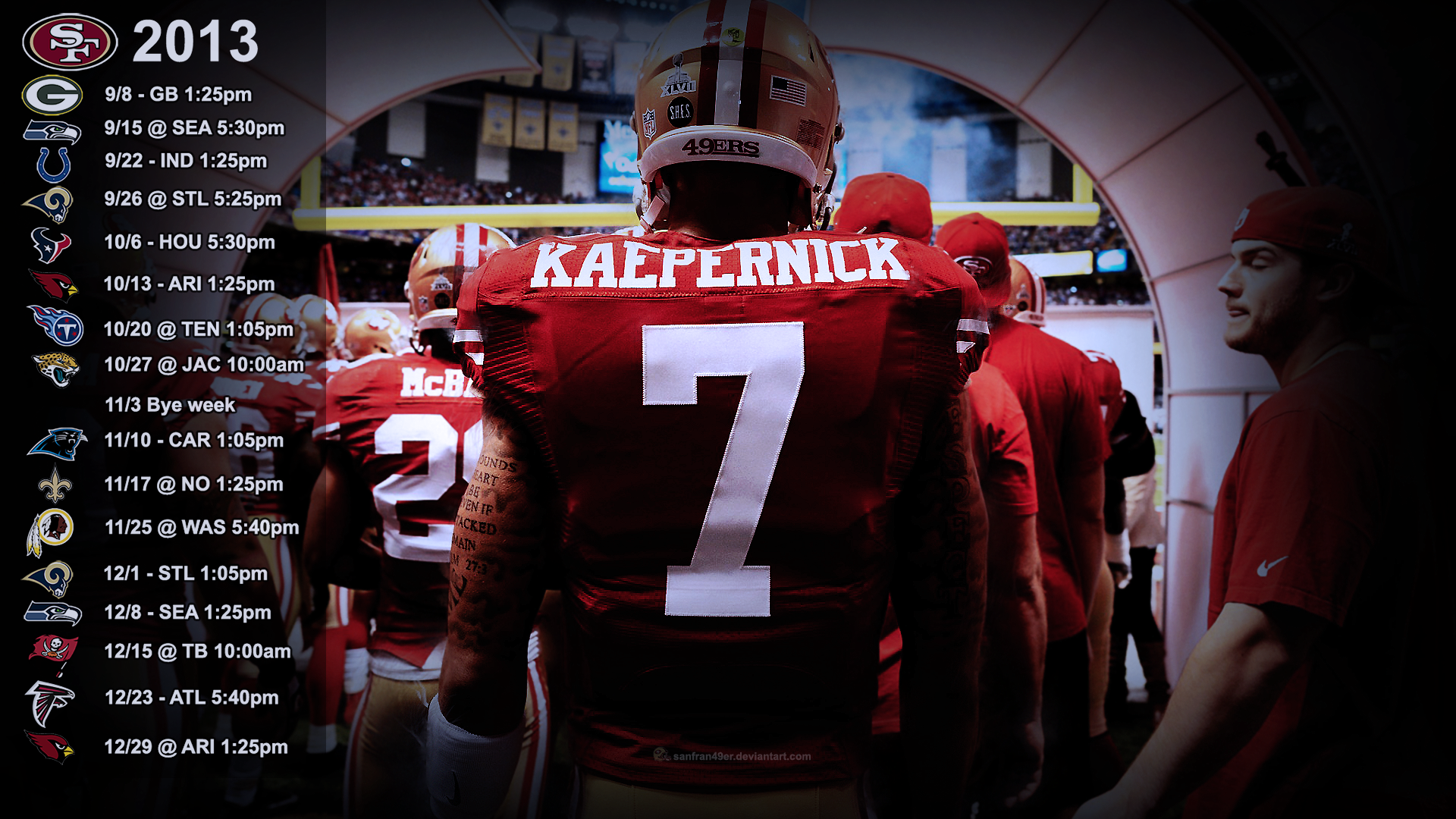 Kaepernick Wallpaper with 2013 schedule PST 2 by 1920x1080
