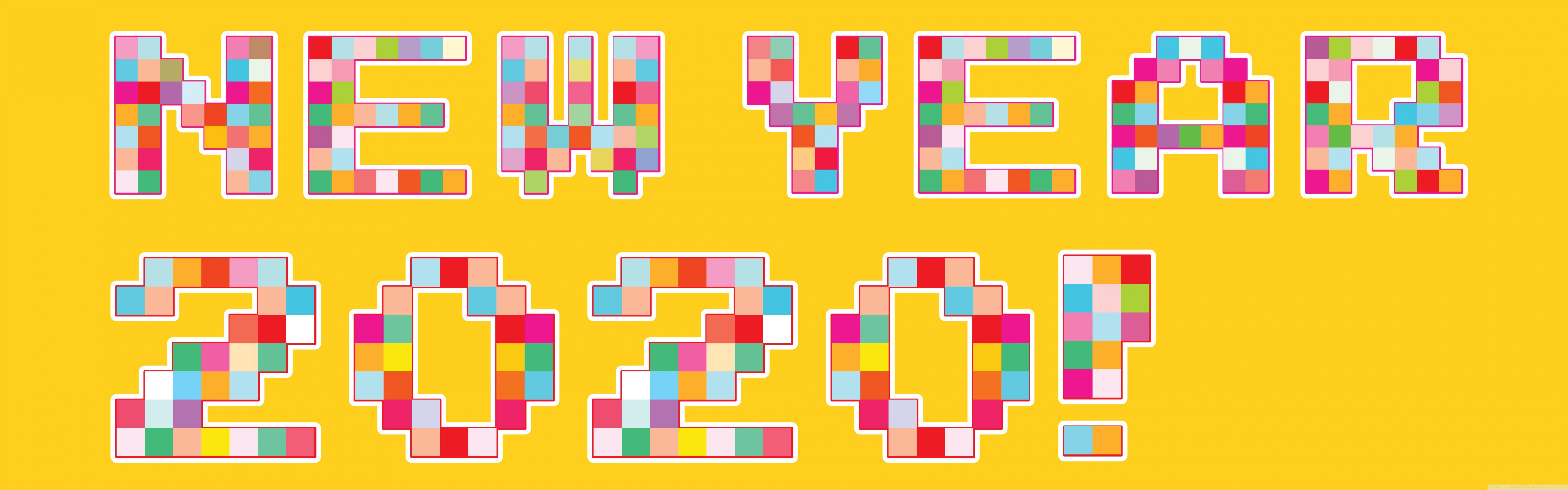 Happy New Year 2020 Pixel Art 4K HD Desktop Wallpaper for 4K 7680x2400