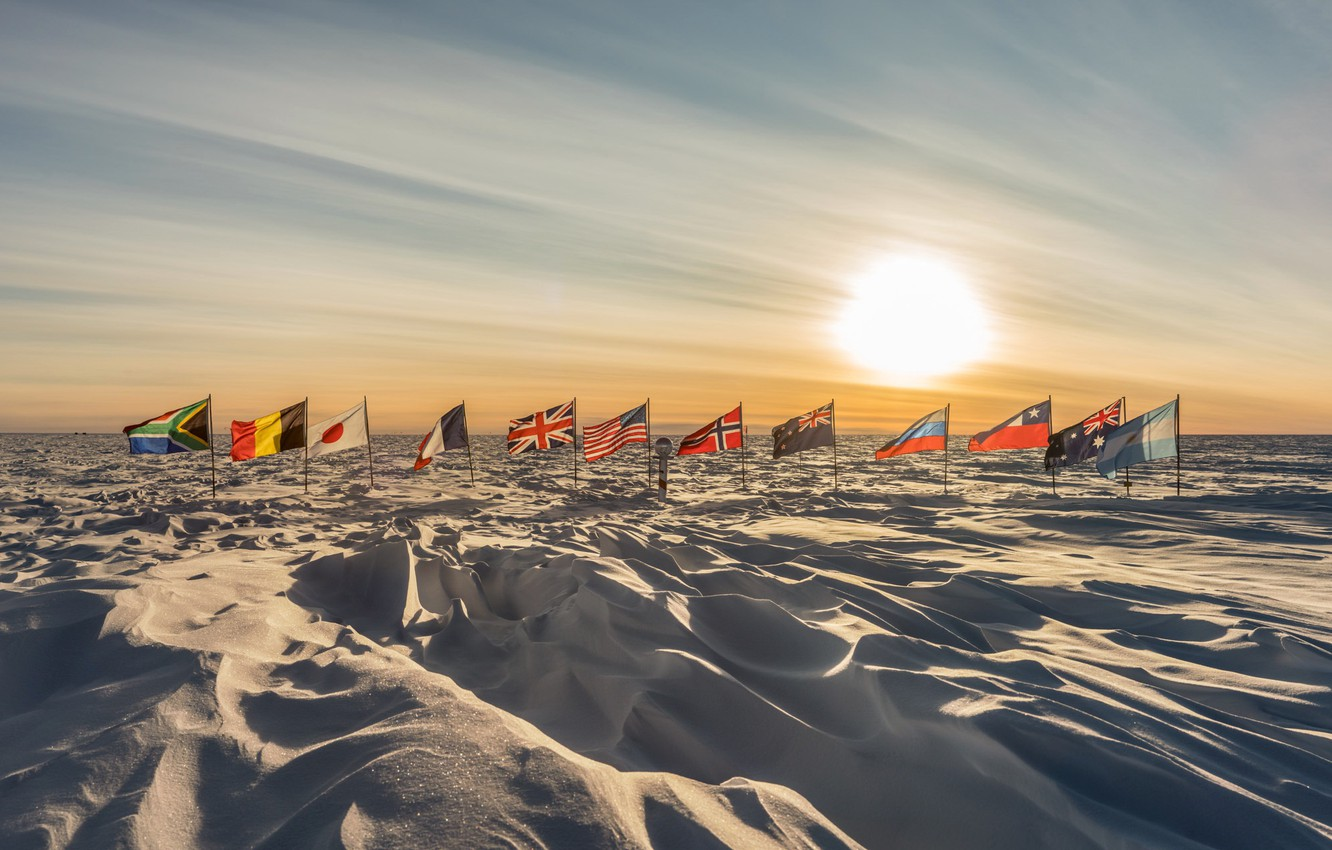 Wallpaper Sunrise flags antarctica South Pole images for 1332x850