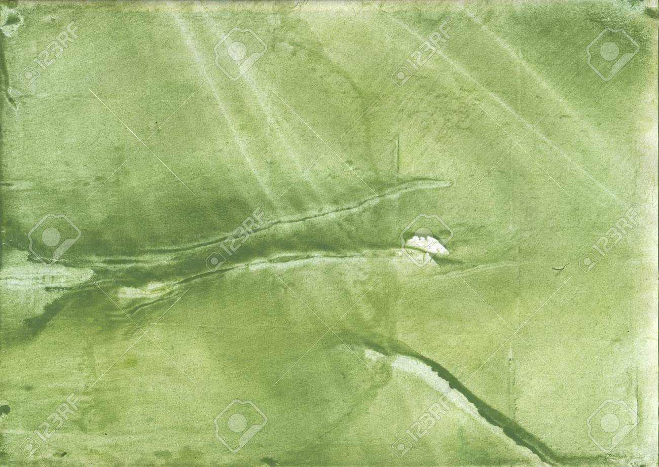 Vague Watercolor Painted On Paper Sheet Green Khaki Background 1300x922