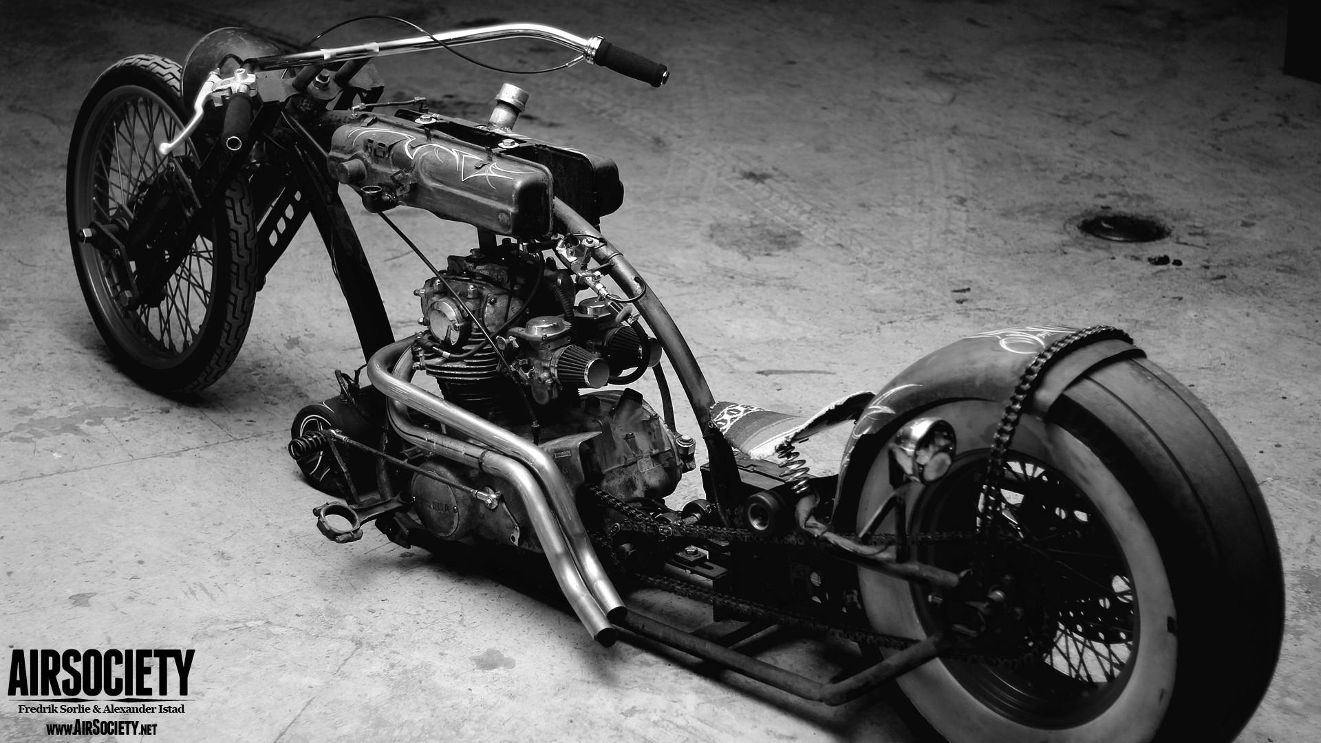 black and white bike engines chopper grayscale ride Yamaha 1920x1080