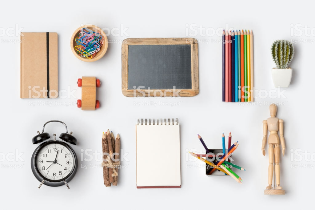 Back To School Concept With School Supplies Organized On White 1024x682