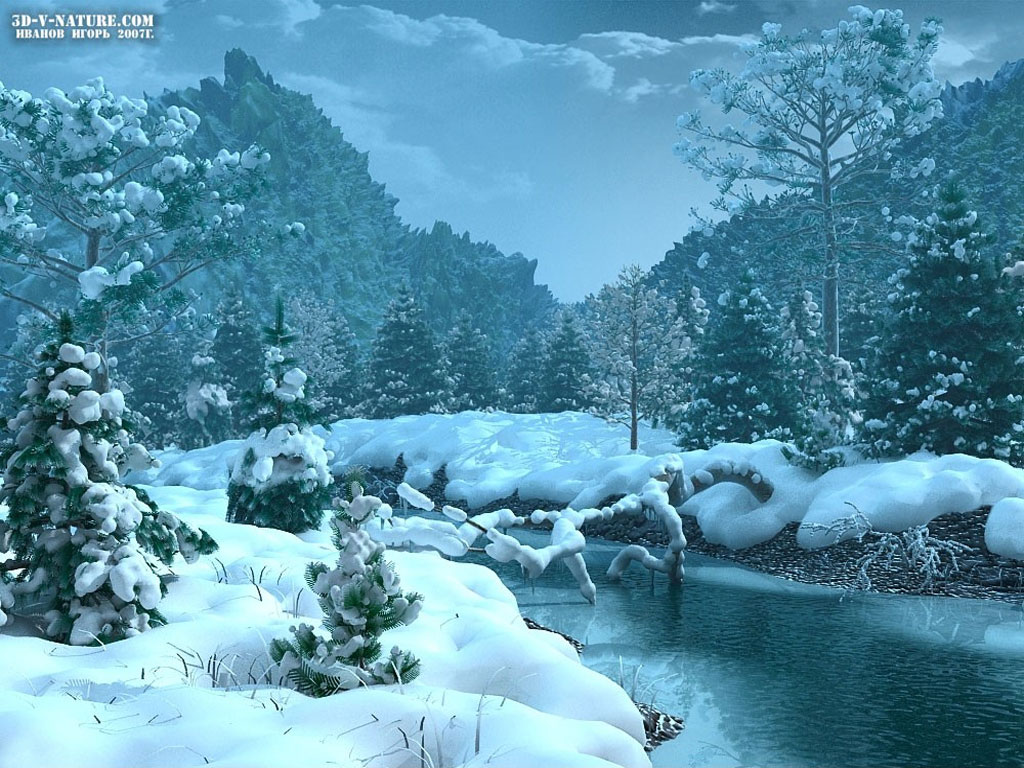 Winterscape 1024 x 768pix wallpaper Nature 3D Digital Art 1024x768