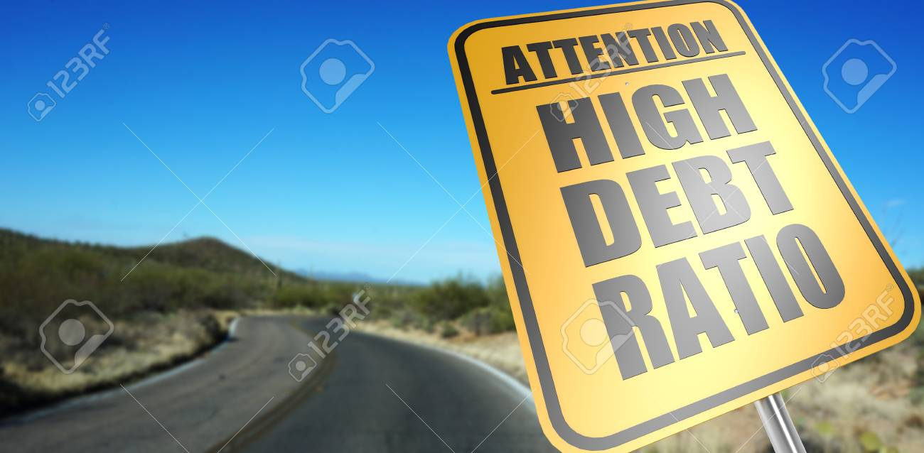 High Debt Ratio Road Sign On A Sky Background And Dessert Road 1300x638