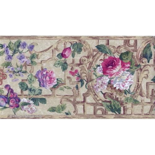 Pink Purple Flower Floral Wallpaper Border 500x500