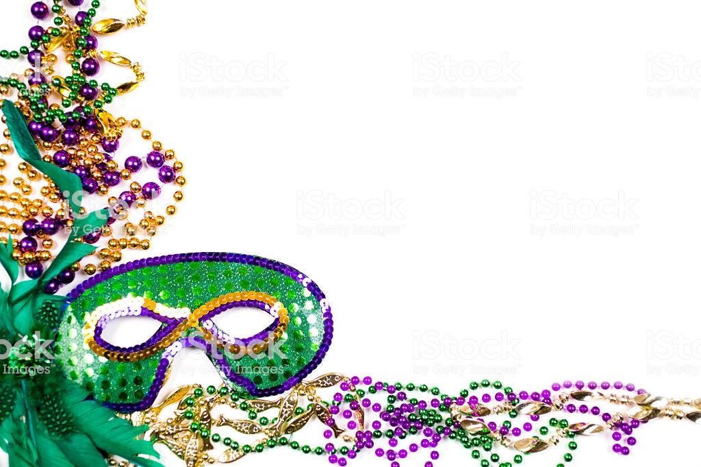 Mardi Gras Background Purple Gold Green Mask Beads Stock Photo 1024x682