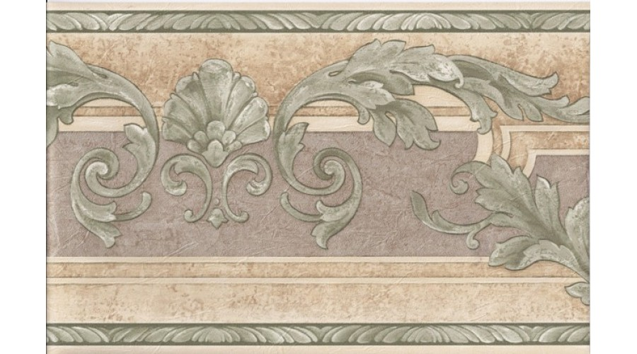 Home Cream Green Molding Leaves Wallpaper Border 900x500