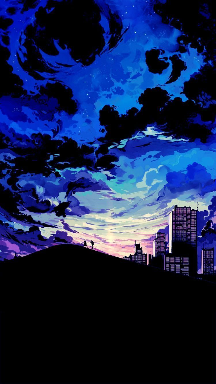 Anime Scenery Iphone X Wallpaper in 2020 Anime scenery Blue 750x1333